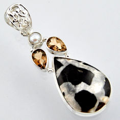 19.72cts natural black septarian gonads smoky topaz 925 silver pendant r2885