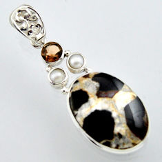 21.48cts natural black septarian gonads smoky topaz 925 silver pendant r2888