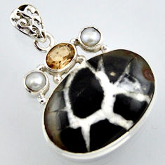 24.00cts natural black septarian gonads smoky topaz 925 silver pendant r2892