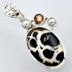 20.07cts natural black septarian gonads smoky topaz 925 silver pendant r2893