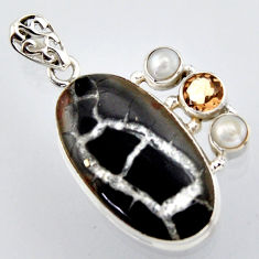 23.95cts natural black septarian gonads smoky topaz 925 silver pendant r2896