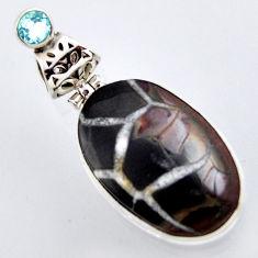 21.42cts natural black septarian gonads topaz 925 sterling silver pendant r2897