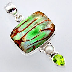 16.20cts natural green variscite peridot pearl 925 sterling silver pendant r2901