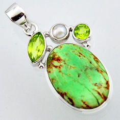 16.73cts natural green variscite peridot pearl 925 sterling silver pendant r2902
