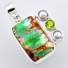 17.22cts natural green variscite peridot pearl 925 sterling silver pendant r2904
