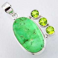 17.18cts natural green variscite peridot 925 sterling silver pendant r2907
