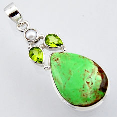 18.15cts natural green variscite peridot pearl 925 sterling silver pendant r2908
