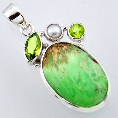 17.22cts natural green variscite peridot pearl 925 sterling silver pendant r2909