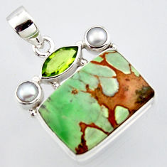 18.15cts natural green variscite peridot pearl 925 sterling silver pendant r2911