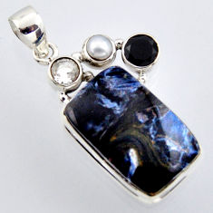18.15cts natural black pietersite (african) onyx 925 silver pendant r2916