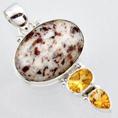 17.57cts natural bronze astrophyllite (star leaf) 925 silver pendant r2927