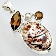 22.59cts natural bronze astrophyllite (star leaf) 925 silver pendant r2929