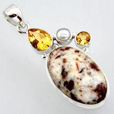 21.48cts natural bronze astrophyllite (star leaf) pearl 925 silver pendant r2930