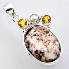 18.70cts natural bronze astrophyllite (star leaf) pearl 925 silver pendant r2934