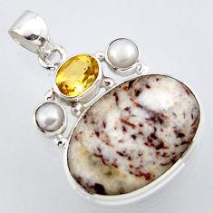 22.02cts natural bronze astrophyllite (star leaf) pearl 925 silver pendant r2937