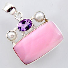 17.55cts natural pink opal amethyst 925 sterling silver pendant jewelry r2938