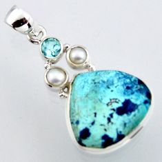 925 sterling silver 15.65cts natural blue shattuckite topaz pearl pendant r2940