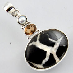 20.65cts natural brown septarian gonads smoky topaz 925 silver pendant r2959