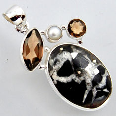 925 silver 25.00cts natural black septarian gonads smoky topaz pendant r2960