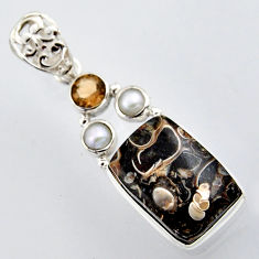 16.46cts natural brown turritella fossil snail agate 925 silver pendant r2975