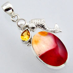 925 sterling silver 18.70cts natural brown mookaite citrine fish pendant r2976