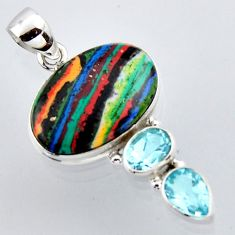 16.20cts natural multi color rainbow calsilica topaz 925 silver pendant r2978