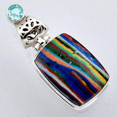 16.70cts natural multi color rainbow calsilica topaz 925 silver pendant r2979