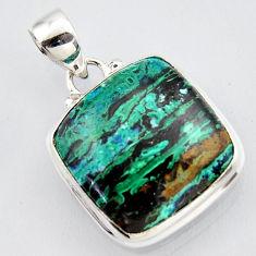 15.39cts natural green azurite malachite 925 sterling silver pendant r3411