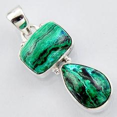 925 sterling silver 13.26cts natural green azurite malachite pendant r3413