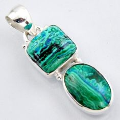 10.78cts natural green azurite malachite 925 sterling silver pendant r3425
