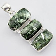 20.07cts natural green seraphinite (russian) 925 sterling silver pendant r3441
