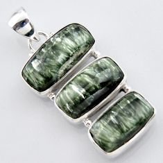 21.48cts natural green seraphinite (russian) 925 sterling silver pendant r3442