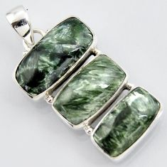 20.07cts natural green seraphinite (russian) 925 sterling silver pendant r3443