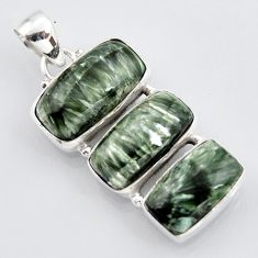 925 sterling silver 20.07cts natural green seraphinite (russian) pendant r3444