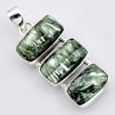 19.68cts natural green seraphinite (russian) 925 sterling silver pendant r3445