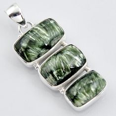 19.23cts natural green seraphinite (russian) 925 sterling silver pendant r3446