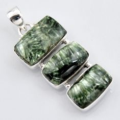 22.02cts natural green seraphinite (russian) 925 sterling silver pendant r3447