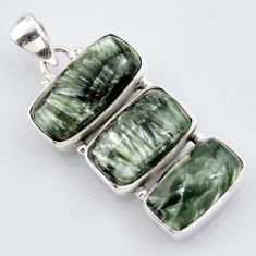 925 silver 20.07cts natural green seraphinite (russian) octagan pendant r3448