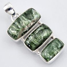 19.72cts natural green seraphinite (russian) 925 sterling silver pendant r3449