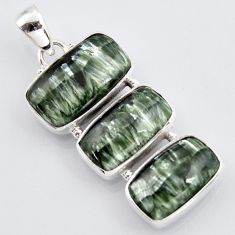 20.07cts natural green seraphinite (russian) 925 sterling silver pendant r3450