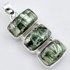 20.07cts natural green seraphinite (russian) 925 sterling silver pendant r3451