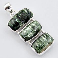 925 sterling silver 22.02cts natural green seraphinite (russian) pendant r3452