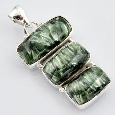 21.48cts natural green seraphinite (russian) 925 sterling silver pendant r3453