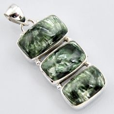 20.05cts natural green seraphinite (russian) 925 sterling silver pendant r3454