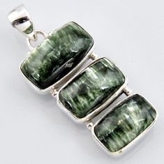 925 sterling silver 20.07cts natural green seraphinite (russian) pendant r3455