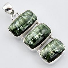 21.18cts natural green seraphinite (russian) 925 sterling silver pendant r3456