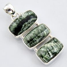925 sterling silver 20.88cts natural green seraphinite (russian) pendant r3459