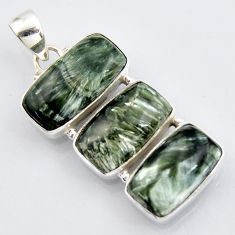 23.95cts natural green seraphinite (russian) 925 sterling silver pendant r3460