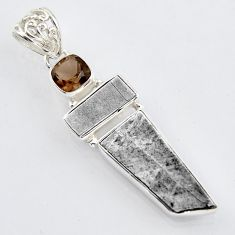 14.90cts natural grey meteorite gibeon smoky topaz 925 silver pendant r3463