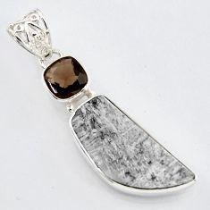 925 silver 14.47cts natural grey meteorite gibeon smoky topaz pendant r3464